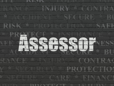 Insurance concept: Painted white text Assessor on Black Brick wall background with  Tag Cloud Imagens