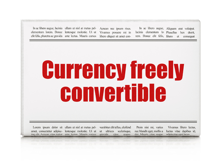 articles: Banking concept: newspaper headline Currency freely Convertible on White background, 3D rendering