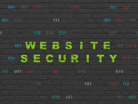 drawing pin: Safety concept: Painted green text Website Security on Black Brick wall background with Binary Code