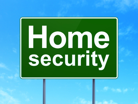security symbol: Privacy concept: Home Security on green road highway sign, clear blue sky background, 3D rendering