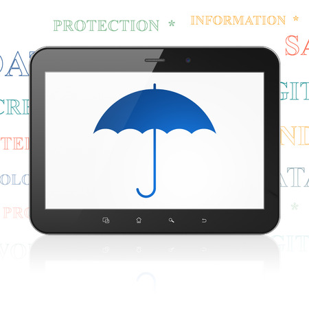 security symbol: Protection concept: Tablet Computer with  blue Umbrella icon on display,  Tag Cloud background, 3D rendering Stock Photo