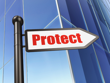 security symbol: Protection concept: sign Protect on Building background, 3D rendering