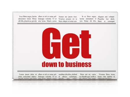 articles: Finance concept: newspaper headline Get Down to business on White background, 3D rendering