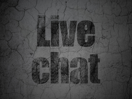 grungy: Web development concept: Black Live Chat on grunge textured concrete wall background