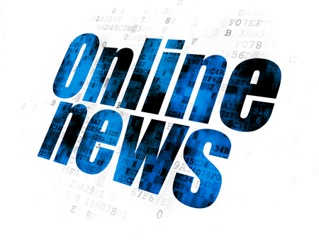 News concept: Pixelated blue text Online News on Digital background Stock Photo