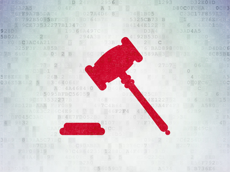Law concept: Painted red Gavel icon on Digital Data Paper background