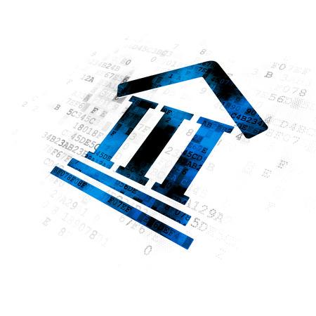 Concepto de ley: icono de Palacio de Justicia azul pixelado en el fondo digital