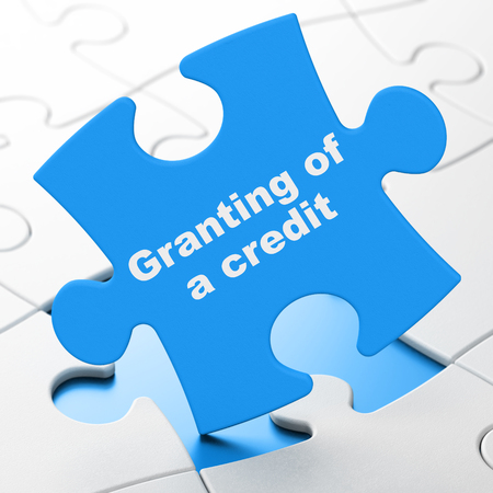 granting: Money concept: Granting of A credit on Blue puzzle pieces background, 3D rendering