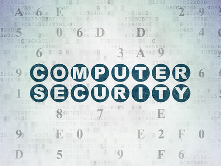 drawing pin: Safety concept: Painted blue text Computer Security on Digital Data Paper background with Hexadecimal Code Stock Photo