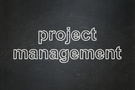 Business concept: text Project Management on Black chalkboard background