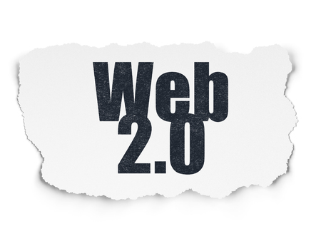 html: Web development concept: Painted black text Web 2.0 on Torn Paper background with  Tag Cloud