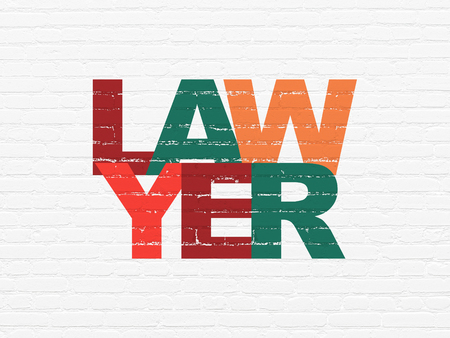 Law concept: Painted multicolor text Lawyer on White Brick wall background