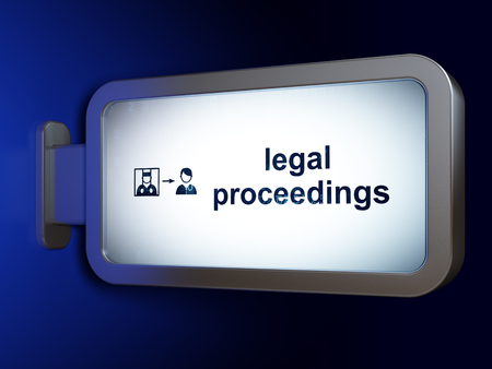 Law concept: Legal Proceedings and Criminal Freed on advertising billboard background, 3D rendering