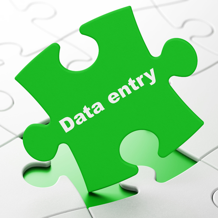 Information concept: Data Entry on Green puzzle pieces background, 3D rendering