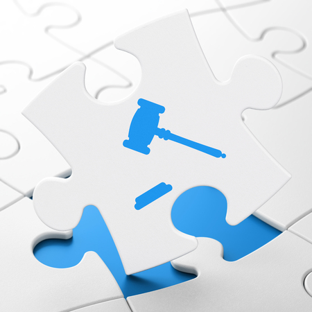 Law concept: Gavel on White puzzle pieces background, 3D rendering