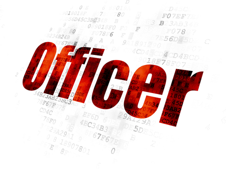 Law concept: Pixelated red text Officer on Digital background Stock Photo
