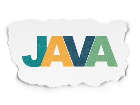 Programming concept: Painted multicolor text Java on Torn Paper background