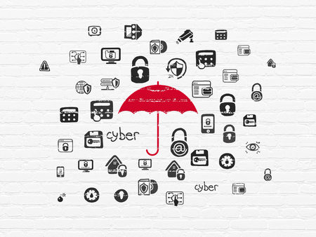 Security concept: Painted red Umbrella icon on White Brick wall background with  Hand Drawn Security Icons