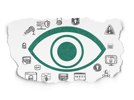 Safety concept: Painted green Eye icon on Torn Paper background with  Hand Drawn Security Icons