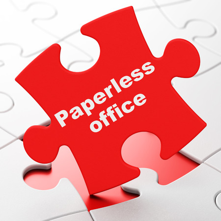 paperless: Business concept: Paperless Office on Red puzzle pieces background, 3D rendering