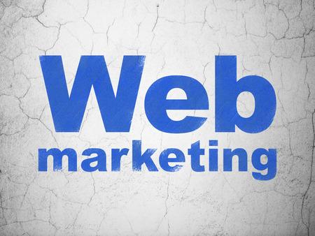 Web design concept: Blue Web Marketing on textured concrete wall background