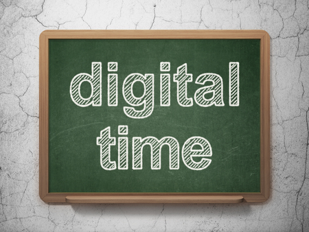 Timeline concept: text Digital Time on Green chalkboard on grunge wall background, 3D rendering Stock Photo