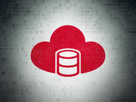 html: Database concept: Painted red Database With Cloud icon on Digital Data Paper background