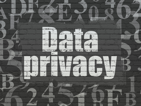 drawing pin: Privacy concept: Painted white text Data Privacy on Black Brick wall background with  Hexadecimal Code Stock Photo