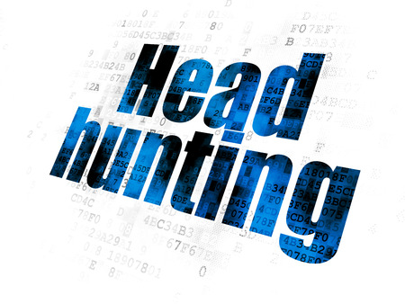pixelated: Business concept: Pixelated blue text Head Hunting on Digital background Stock Photo