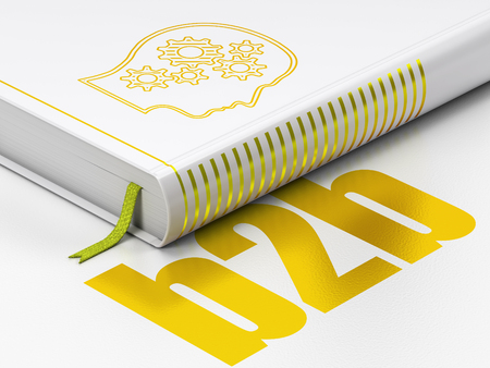 b2b: Finance concept: closed book with Gold Head With Gears icon and text B2b on floor, white background, 3D rendering Foto de archivo