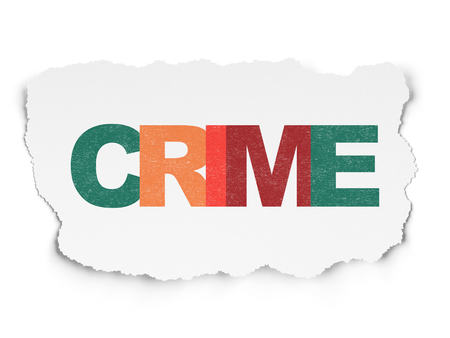 drawing pin: Protection concept: Painted multicolor text Crime on Torn Paper background