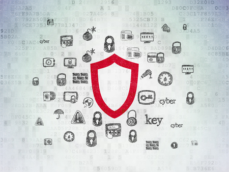Safety concept: Painted red Contoured Shield icon on Digital Data Paper background with  Hand Drawn Security Icons