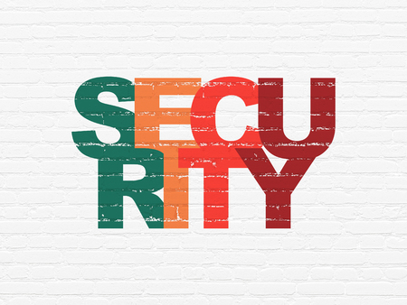 Safety concept: Painted multicolor text Security on White Brick wall background Stock Photo