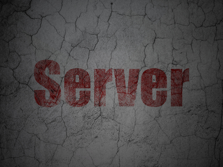 Web development concept: Red Server on grunge textured concrete wall background Stock Photo