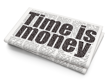 Time concept: Pixelated black text Time is Money on Newspaper background, 3D rendering