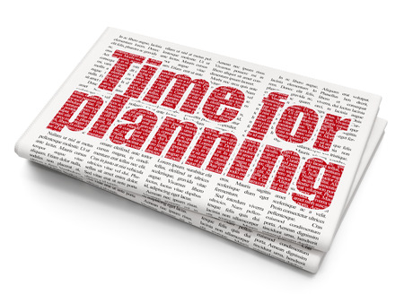 Time concept: Pixelated red text Time for Planning on Newspaper background, 3D rendering