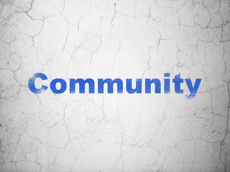 microblog: Social media concept: Blue Community on textured concrete wall background Stock Photo