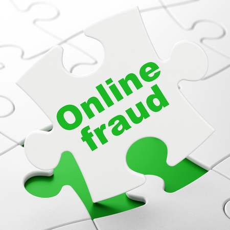 Privacy concept: Online Fraud on White puzzle pieces background, 3D rendering