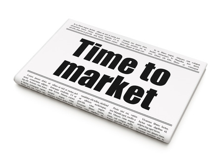 Timeline concept: newspaper headline Time to Market on White background, 3D rendering Stock Photo