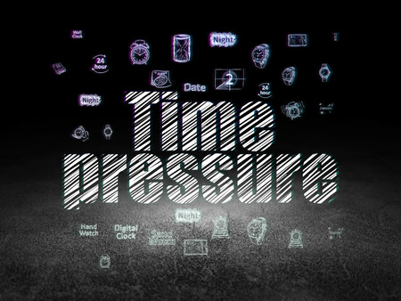 drawing room: Timeline concept: Glowing text Time Pressure,  Hand Drawing Time Icons in grunge dark room with Dirty Floor, black background