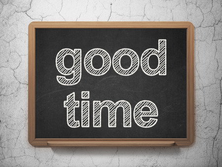 Timeline concept: text Good Time on Black chalkboard on grunge wall background, 3D rendering Stock Photo