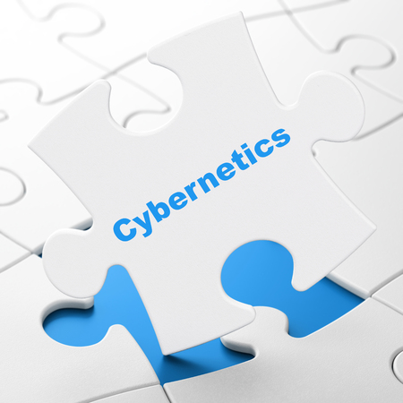 Science concept: Cybernetics on White puzzle pieces background, 3D rendering