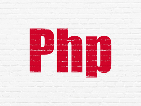 css: Software concept: Painted red text Php on White Brick wall background