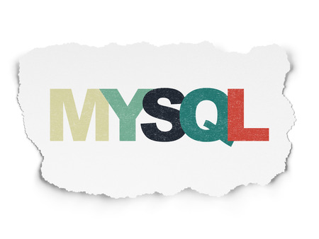 html: Programming concept: Painted multicolor text MySQL on Torn Paper background
