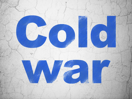 Political concept: Blue Cold War on textured concrete wall background Stock Photo