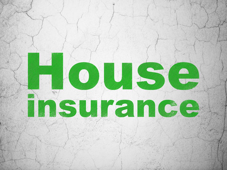 Insurance concept: Green House Insurance on textured concrete wall background