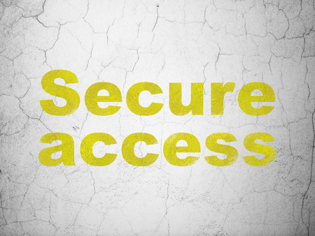 digital background: Protection concept: Yellow Secure Access on textured concrete wall background