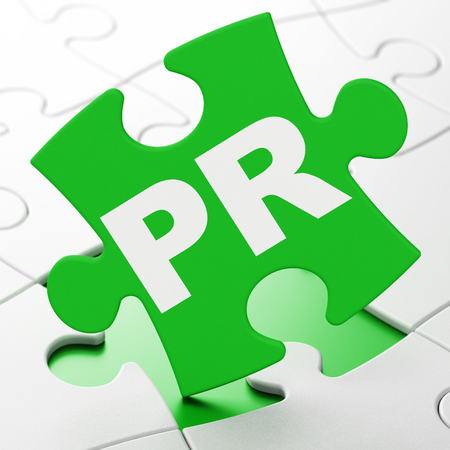 Marketing concept: PR on Green puzzle pieces background, 3D rendering