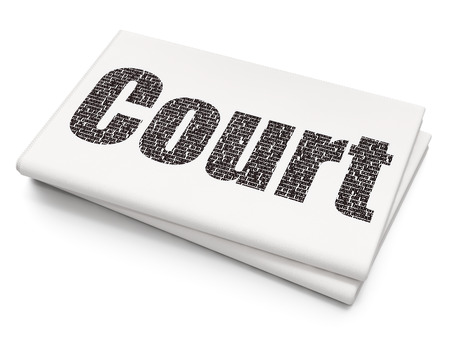 Law concept: Pixelated black text Court on Blank Newspaper background, 3D rendering