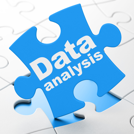 tile: Data concept: Data Analysis on Blue puzzle pieces background, 3D rendering Stock Photo